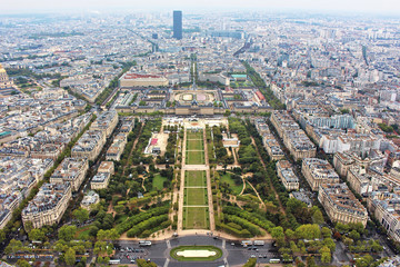 Panoramic view on paris city, Field of Mars, from the top of eiffel tower, france