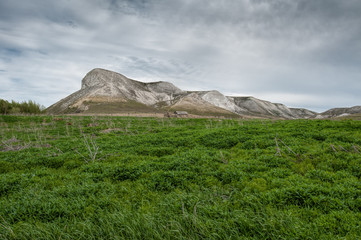 View of the Red mountain, or the Mare's head, chalk mountains in the Don River valley, Donskoy park.