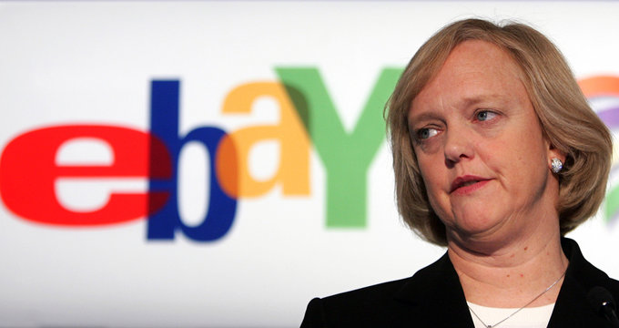 Online auction company EBay's CEO Whitman looks on during news conference in Brussels