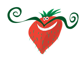 red berry with mood/ Vector cheerful mustachioed strawberry with light bristles