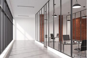 Brick wall office corridor
