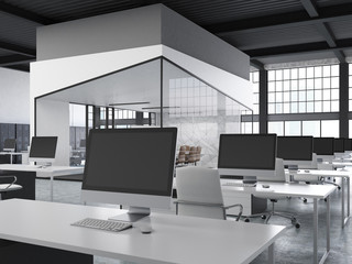 Open office with aquarium, side