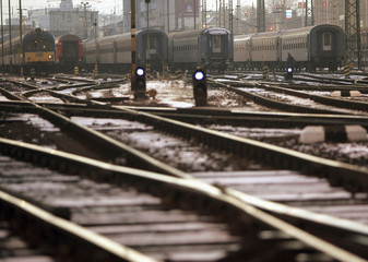 Empty tracks are seen during an indefinite strike by railway workers at the Eastern railway station in Budapest