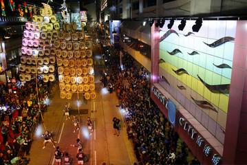 JAPANESE ACROBATS PERFORM AT CHINESE NEW YEAR PARADE IN HONG KONG.