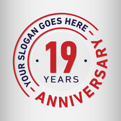 19 years anniversary logo template. Vector and illustration.