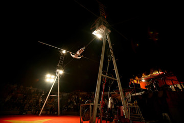 Iranian acrobat performs during show in Tehran