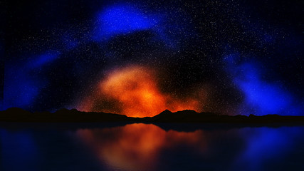 3D landscape with colourful night sky