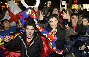 Barcelona's supporters celebrate at Las Ramblas in Barcelona