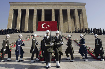 Turkish soldiers attend a commemoration ceremony for Mustafa Kemal Ataturk in Ankara