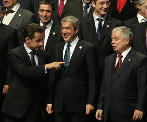 France's President Sarkozy, Portuguese Prime Minister Socrates and Polish President Kaczynski during the EU summit in Lisbon