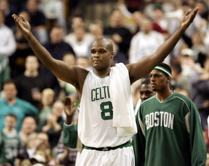 Boston Celtics Walker and Pierce celebrate during game against the Indiana Pacers.