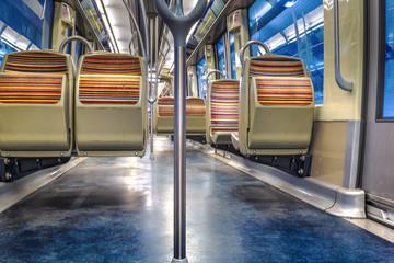 Emty seats in parisian subway carriage, Paris, France.
