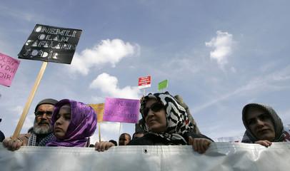 Women participate in a demonstration in Ankara