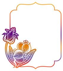 Gradient label with decorative flowers. Copy space.
