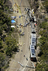 AERIAL PICTURES OF TRAIN CRASH ON OUTSKIRTS OF SYDNEY.