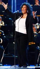 SINGER ARETHA FRANKLIN PERFORMS AT NFL CONCERT IN WASHINGTON.