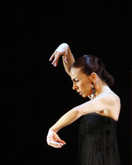 Flamenco dancer Isabel Bayon performs during a rehearsal in Madrid
