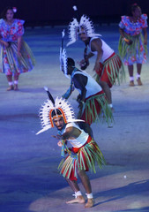 DANCERS PERFORM AT OPENING CEREMONY FOR THE GOODWILL GAMES IN BRISBANE.