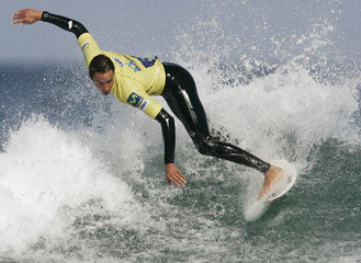 Bortoletto surfs a wave during the qualifying series of the Pantin Classic Pro World championships at Pantin Beach in Ferrol