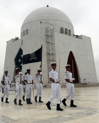 Pakistan Navy contingents march during rehearsal at mausoleum of Father of the Nation in Karachi