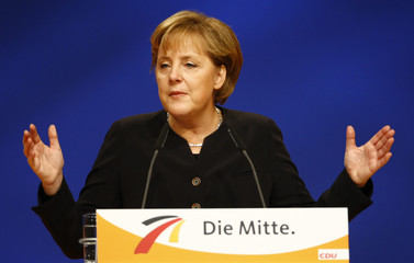 German Chancellor Merkel addresses the party congress of the conservative Christian Democratic Union party in Hanover