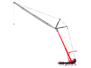 scale model of mobile crane isolated over white background