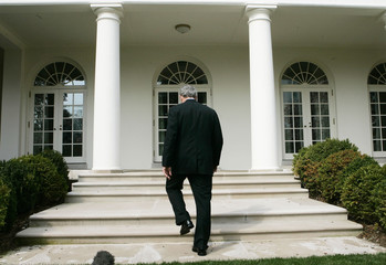 U.S. President George W. Bush after talking about Press Secretary Tony Snow's cancer at White House in Washington