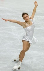 JULIA SEBESTYEN OF HUNGARY SKATES HER SHORT PROGRAM FOR EUROPEAN FIGURE SKATING CHAMPIONSHIPS IN VIENNA.
