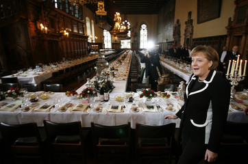 "German Chancellor Merkel arrives for the traditional 463th ""Schaffermahlzeit"" at the town hall in Bremen"