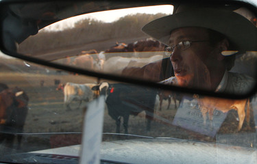 Seeligson is reflected in his rear view mirror along with his cattle at his ranch in Pandora