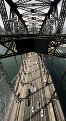 Bird's eye view of morning traffic crossing the Sydney Harbour Bridge