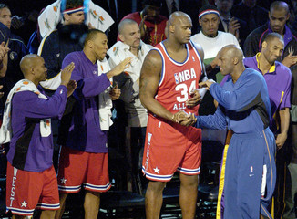 MICHAEL JORDAN IS GREETED BY FELLOW NBA ALL STARS IN ATLANTA.