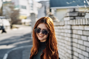 red-haired woman, walk, glasses