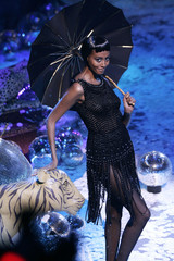 A model presents a creation by French designer Franck Sorbier as part of his Autumn/Winter 2006-2007..