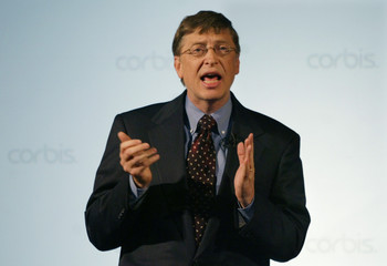 CORBIS FOUNDER BILL GATES SPEAKS TO FIRST ANNUAL MEETING.