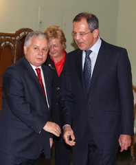Poland's President Kaczynski receives Russian Foreign Minister Lavrov at presidential palace in Warsaw