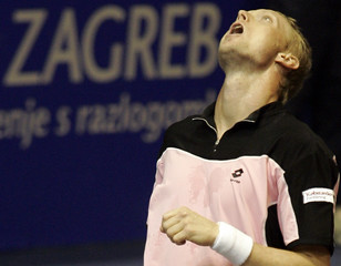 Denmark's Carlsen reacts during  the Zagreb Indoors tennis tournament in Zagreb