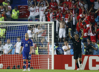 Croatia's Petric reacts as Turkey's goalkeeper Recber celebrates during Euro 2008 quarter-final in Vienna