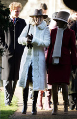 Members of Britain's Royal Family arrive for the Christmas Day church service on the Sandringham estate.