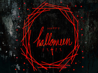 Wall Mural - Happy Halloween word on black splash and red abstract background illustration