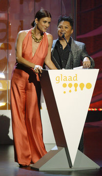 Actors Kate Walsh and Alec Mapa at the 20th GLAAD Media Awards in Los Angeles
