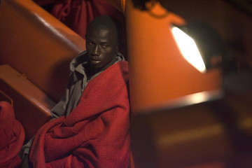 Would-be immigrant rests after arriving to Los Cristianos port on Spain's Canary Island of Tenerife