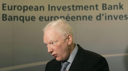 EIB President Maystadt speaks during news conference in Lisbon