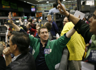 Kevin Maloney calls out a trade on the floor of the Chicago Mercantile Exchange