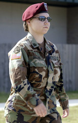 US Army PFC Lynndie England leaves courthouse after Article 32 hearing at Fort Hood Texas.