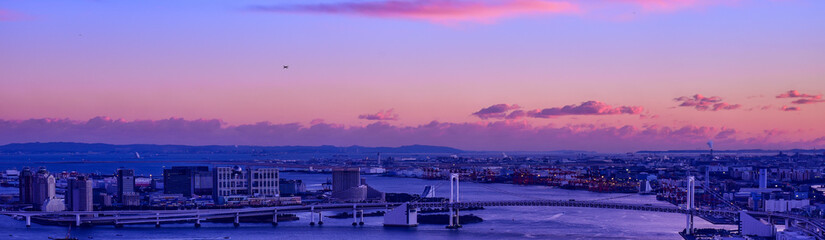 Tokyo bay area cityscape with Rainbow bridge at dusk