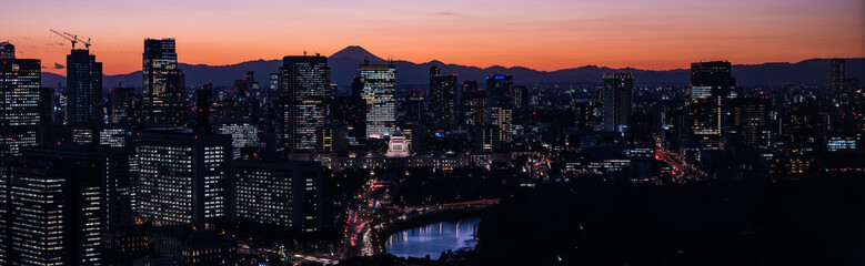 Tokyo cityscape with Mt. Fuji at dusk