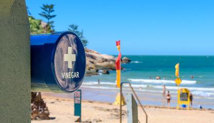 A vinegar station on the beach for treating a marine stinger sting at Alma Beach, Magnetic Island, Australia