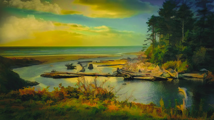 Digital Painting Autumn Cove and Pacific Ocean at Sunset