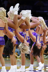 """Laker Girls"" perform during a time out in Game 5 of NBA Western Conference final basketball playoff game in Los Angeles"